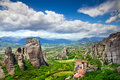 Rock in meteora greece monastery on top of Stock Photo