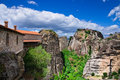 Rock in meteora greece monastery on top of Stock Images