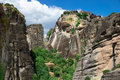 Rock in meteora greece monastery on top of Royalty Free Stock Image