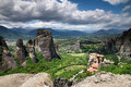 Rock in meteora greece monastery on top of Royalty Free Stock Photo
