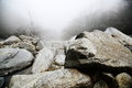 Rock mount lushan is a famous mountain china its characteristic is much more clouds fog and there are many such big stones in the Royalty Free Stock Photos