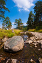 Rock in mountain river landscape summer Royalty Free Stock Photo