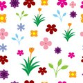 Seamless colorful flowers pattern on the white background