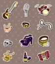 Rock music band stickers