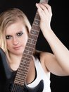 Rock music. Girl musician playing on electric guitar Royalty Free Stock Photo