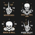 Rock music grunge print for apparel with skeleton hand, skull and rose. Vintage rock-n-roll t-shirt graphics set. Vector. Royalty Free Stock Photo