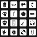 Rock music icons set squares vector