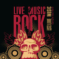 Rock music poster for a concert with a human skull and electric guitar Royalty Free Stock Images