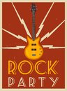 Rock music poster. Old school party. Cartoon vector illustration. Royalty Free Stock Photo