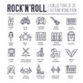 ROCK N ROLL circle outline icons collection set.  Music equipment linear symbol pack. Modern template of thin line icons Royalty Free Stock Photo