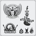 Rock`n`Roll music symbols, labels, logos and design elements. Royalty Free Stock Photo