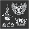 Rock`n`Roll music symbols, labels, logos and design elements.