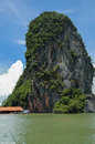 Rock near Floating Muslim Village Koh Panyee Island Royalty Free Stock Photo