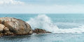 Rock in the ocean and big waves Royalty Free Stock Photography