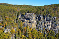 Rock overlook at tallulah gorge a distant view of an in north georgia Royalty Free Stock Images