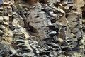 Rock quarry wall texture closeup Royalty Free Stock Photo