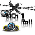 Rock and roll abstract colorful background with electric guitar barbed wire loudspeakers theme Royalty Free Stock Photography