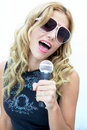 Rock and Roll Female Singer, Female Rock Star Royalty Free Stock Photo