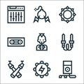 Rock and roll line icons. linear set. quality vector line set such as mp player, tambourine, spotlight, audio jack, skull, Royalty Free Stock Photo