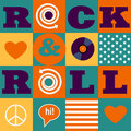Rock and roll pattern seamless vector musical with american flag Stock Photo