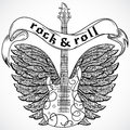 Rock and roll. Vintage poster with electric guitar, ornate wings and ribbon banner. Retro vector illustration.