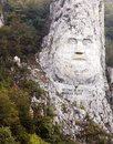 The rock sculpture of Decebalus the last king of Dacia carving in rock, on the river Danube, at the Iron Gates Royalty Free Stock Photo