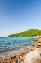Rock sea and blue sky at tien beach koh larn pattaya chonburi thailand Stock Images