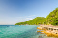 Rock sea and blue sky at tien beach koh larn pattaya chonburi thailand Royalty Free Stock Photos