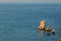 Rock in the sea near tarhankut crimea black ukraine Royalty Free Stock Images