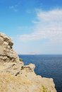 Rock and sea noviy svet crimea ukraine Royalty Free Stock Photos