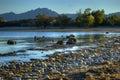 Rock Shoreline, Lake Mohave National Recreation Area, Las Vegas, Nevada, USA Royalty Free Stock Photo