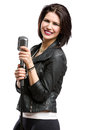 Rock singer keeping mic half length portrait of wearing leather jacket and static isolated on white concept of music and rave Royalty Free Stock Photos