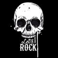 Rock skull label Royalty Free Stock Photo
