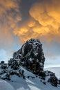 Rock snow and sky along the tongariro crossing new zealand Stock Photos