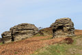 Rock stacks in countryside scenic view of eroded north yorkshire moors national park england Stock Photo
