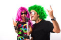 Rock Star  Father And Girl Singing Royalty Free Stock Photo