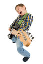 Rock star kid on the white Stock Photography