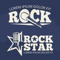 Rock star music labels on grunge backdrop