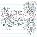 Rock star music sketchy doodles vector illustratio back to school notebook with notes and swirls hand drawn illustration design Royalty Free Stock Photo