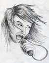 Rock star singer male with long hair pencil drawing sketch Royalty Free Stock Photography