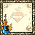 Rock Star Tattoo Party Invitation Royalty Free Stock Photo