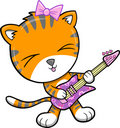 Rock Star Tiger Vector Illustration Royalty Free Stock Photo