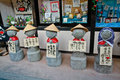 Rock statues in front of the souvenir shop at hiroshima japan Royalty Free Stock Photos