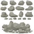 Rock stone cartoon in isometric 3d flat style. Set of different