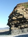 Rock strata layers of a cliff in the uk cliffs at east quantoxhead somerset england Royalty Free Stock Images