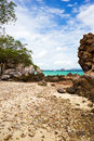 Rock on tayai beach in lan island chonburi thailand Royalty Free Stock Photo