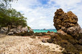 Rock on tayai beach in lan island thailand Stock Image