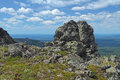 Rock on the third bugor mount in northern ural mountains russia Stock Images