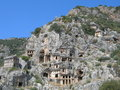 Rock tombs in mirra lycian turkey Stock Photos