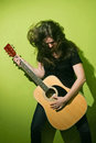 Rock woman and guitar Royalty Free Stock Photo
